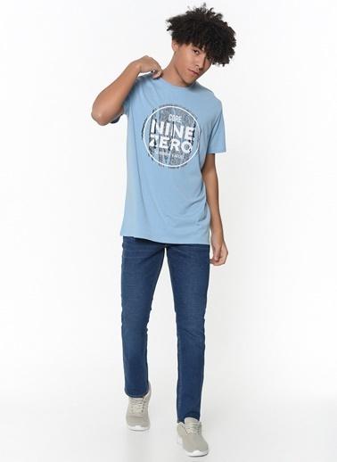 Jack & Jones Jcostar Tee Ss Crew Erkek Tişört Mavi